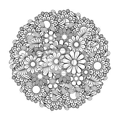 Coloriage Adulte Avec Motif De Fleurs Couronne De Griffonnage Peintures Murales Tableaux Bouquet Inde Henne Myloview Fr