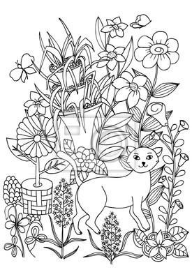 Coloriage Chat Avec Des Fleurs.Coloriage Avec Chat Fleurs Et Papillons Pour Colorier Peintures