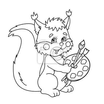 Coloriage Contour De La Page De Dessin Animé écureuil Avec Des