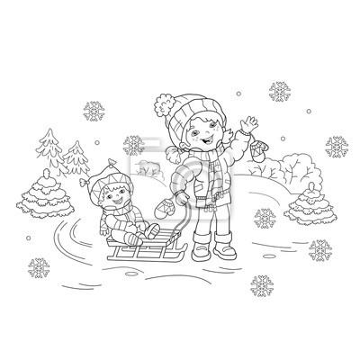 Coloriage Dessin Anime Fille.Coloriage Contour De La Page De Dessin Anime Fille Avec Frere