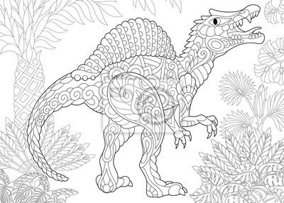 Coloriage Dinosaure Adulte.Coloriage De Dinosaure Spinosaurus De La Periode Du Cretace Moyen
