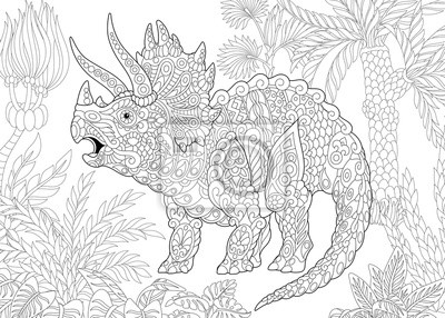 Coloriage Dinosaure Triceratops.Coloriage De Dinosaures Triceratops Vivant A La Fin Du Cretace