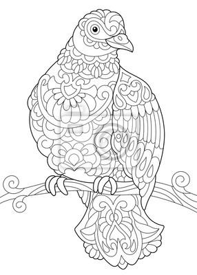 Coloriage De Loiseau De Colombe Pigeon Assis Sur Une Branche Peintures Murales Tableaux Enchevetrement Ailier Coloration Myloview Fr