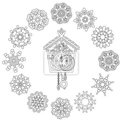 Coloriage Fleur Coucou.Coloriage De Noel Ancienne Horloge Murale Antique Avec Chants
