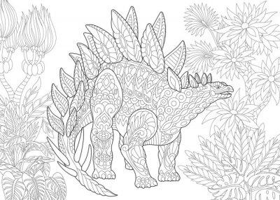 Coloriage Dinosaure Adulte.Coloriage De Stegosaurus Dinosaure Du Jurassique Et Du Debut