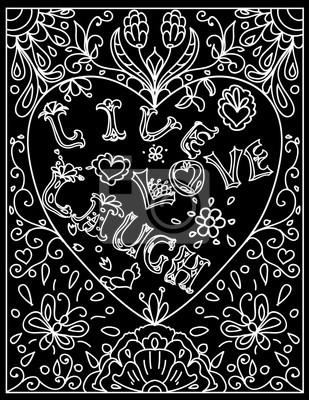 Image Coloriage Décoratif Avec Cadre En Forme De Coeur Vivant Amour