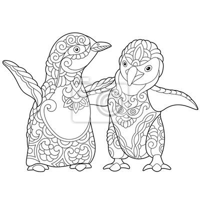 Coloriage Des Jeunes Pingouins Empereurs Isolé Sur Fond Blanc