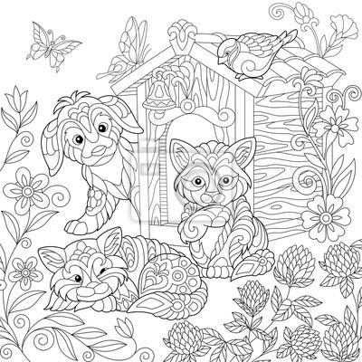 Coloriage du chiot, chat, oiseau à moineau, cabane de ...