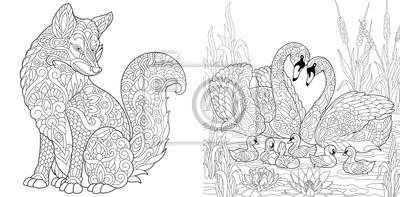 Coloriage Livre De Coloriage Pour Adultes Animal Sauvage De Peintures Murales Tableaux Style Dessin Modele Myloview Fr