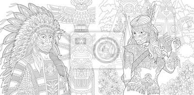 Coloriage Livre De Coloriage Pour Adultes Chef Indien Amerindien