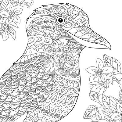 Image Coloriage Oiseau Kookaburra Australien Dessin Déquisse à Main