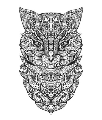 Coloriage pour adulte avec t te de chat zentangle illustration peintures murales tableaux - Coloriage tete de chat ...