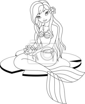 Coloriage Sirene Peintures Murales Tableaux Princesse Profil Sirene Myloview Fr