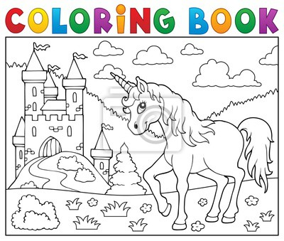 Coloriage Unicorn.Coloriage Unicorn Pres Du Chateau Peintures Murales Tableaux