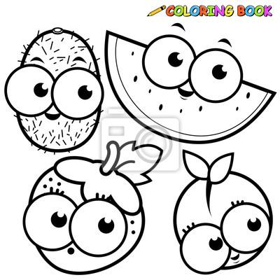 Coloriage Kiwi Fruit.Coloriages Fruit Dessin Anime Kiwi Pasteque Fraise Peche Peintures