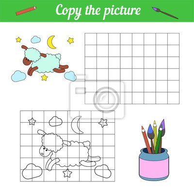 Coloring book Copy on the grid. With a sample Blue sheep flying through the night sky among the clouds, stars and the moon. Leisure development. Game for children magazine. Page of the worksheet.
