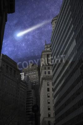 comet flies in the night sky among the stars