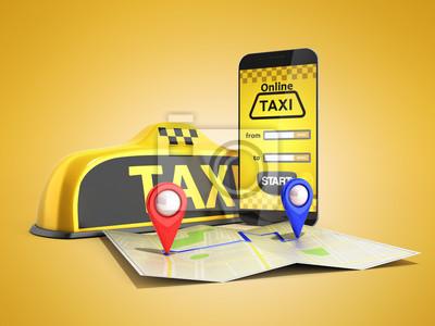 Image Commander un taxi cabine en ligne Internet service transport concept navigation broche pointeur avec motif de damier et jaune taxi et rendu 3d de téléphone sur fond de couleur