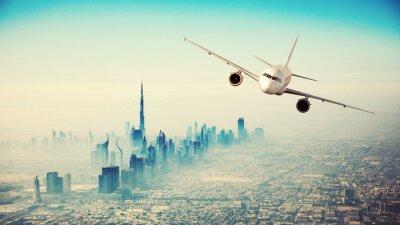 Image Commercial, avion, voler, moderne, ville