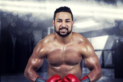 Image Composite, image, musculaire, homme, boxe, gants