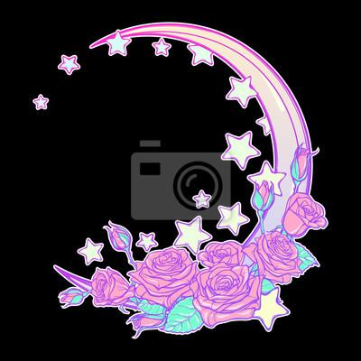 Composition De Kawaii Avec Les Roses Les Etoiles Et Le Croissant