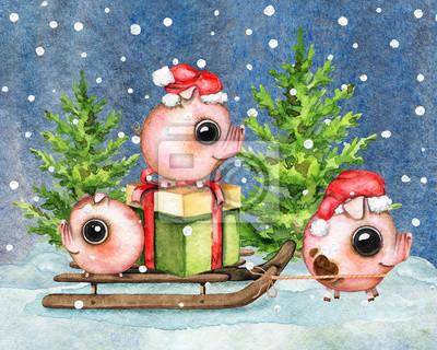 Composition de Noël avec trois petits porcelets, une boîte-cadeau, un traîneau, la neige et deux arbres de Noël isolés sur un ciel nocturne à l'arrière-plan de flocons de neige. Illustration de dessin