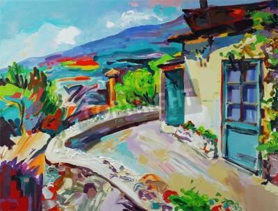 Image Composition originale d'art originale du paysage d'été. Image d'autotrace. Illustration vectorielle. Peinture à l'huile sur toile. Impressionnisme moderne