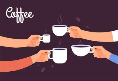 Image Concept de boire du café. Amis boivent du café pour le petit déjeuner. Pause au bureau avec concept de vecteur d'espresso. Illustration d'une boisson au café, matinée de petit-déjeuner au café avec un