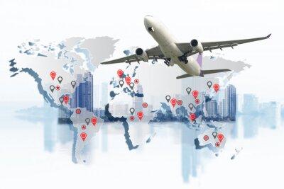 Image Concept de transport, d'importation-exportation et de logistique, camion de récipient, bateau dans le port et avion de cargaison de fret dans le transport et la logistique commerciale d'importation-ex