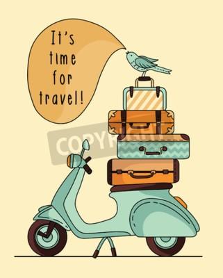 Image Conception d'affiche de scooter Vintage. Scooter avec bagages