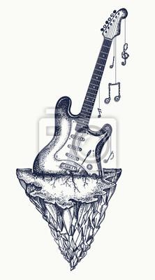 Conception De Tatouage Et De T Shirt De Guitare Et De Montagne