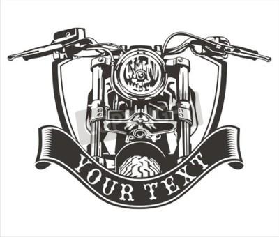 Image Conception de vecteur vintage moto avec un ruban ci-dessous