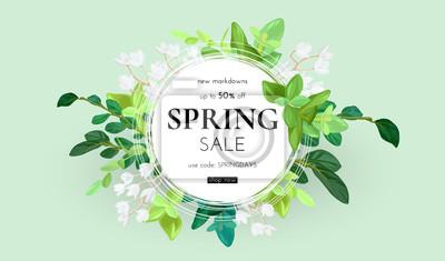 Image Conception florale de printemps avec des fleurs blanches, des feuilles vertes, des eucalyptus et des plantes succulentes. Forme ronde avec un espace pour le texte. Modèle de vente bannière ou flyer, i