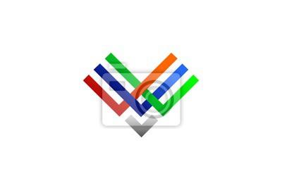 Conception logo modèle dicône avec lettre v ou w vector illustration ...