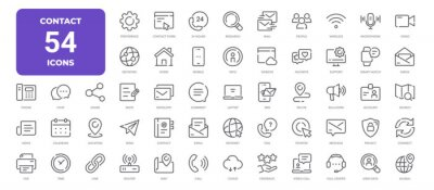 Image Contact Line Icons. Editable Stroke. Pixel Perfect.