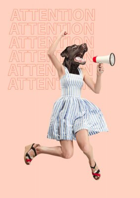 Image Contemporary art collage or portrait of surprised dog headed woman. Modern style pop zine culture concept. Woman screaming with a megaphone. Business processes, message, speaker, communication
