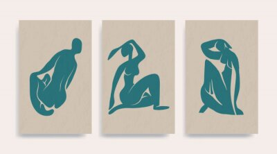 Image Contemporary Henri Matisse abstract vector poster. Woman nude figure sitting silhouette line art Matisse painting. Pastel reproduction of painting. Geometric shape collage.
