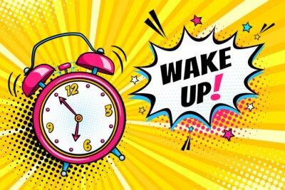 Image Contexte avec la sonnerie de l'horloge comique et la bulle de parole d'expression avec le message de réveil. Vector illustration de dessin animé dynamique dynamique dans le style rétro pop art sur fon