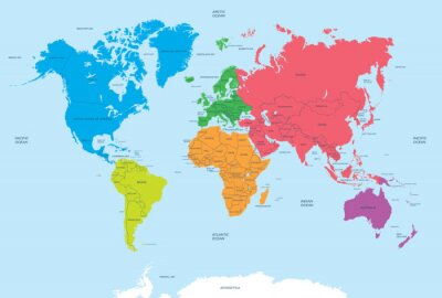 Image Continents of the World and political Map