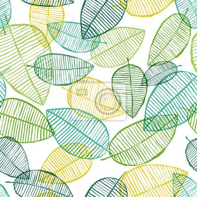 Contour Sans Soudure De Vecteur Laisse Motif Fond De Printemps Peintures Murales Tableaux Minimal Scandinave Lineaire Myloview Fr
