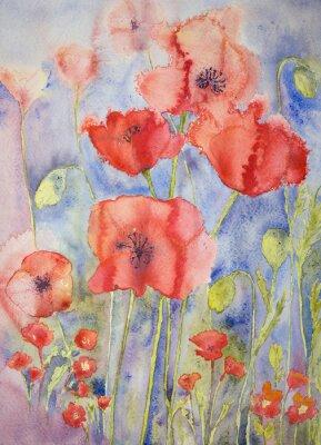 Image Coquelicots dans des couleurs vives et gaies. La technique dabbing donne un effet de focalisation douce en raison de la rugosité de surface altérée du papier.