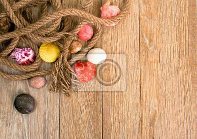 Corde, coquillages, et, pierres, bois, fond