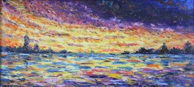 Image Coucher de soleil sur le lac, peinture à l'huile