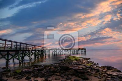 Image Coucher de soleil sur un quai de la baie de Chesapeake