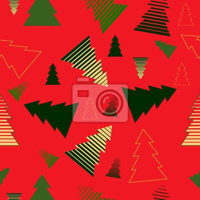 Image En Couleur De Noel.Image Couleur Noel Arbres Rouges Fond Vecteur Illustration