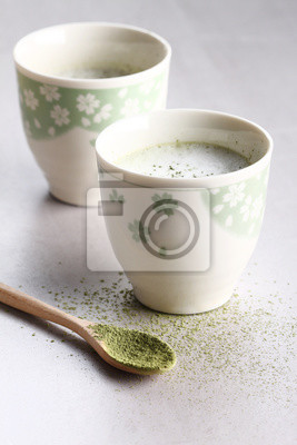 Coupe de latte de thé vert.