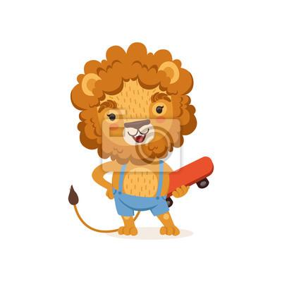 Couper Le Personnage De Dessin Animé De Lion Enfant Portant Des