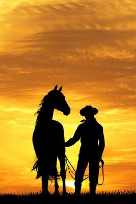 Image Cow-boy, cheval, Coucher soleil