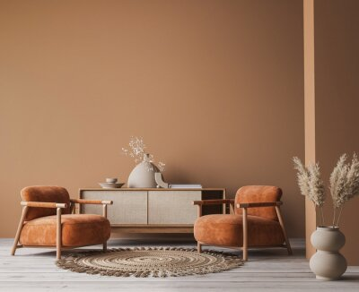Image Cozy home interior with wooden furniture on brown background, empty wall mockup in boho decoration, 3d render