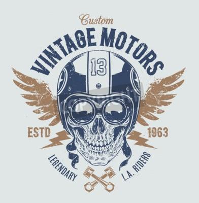 Image Crâne de cavalier avec les attributs rétro de coureur. Impression de grunge. Style vintage. Vector art.